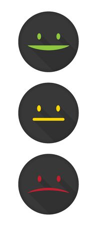 Happy, smile face, Neutral face emoji icons, Unhappy face icon.  Made with long shadow style, on dark color circle. Isolated vector illustration 向量圖像