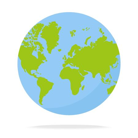 Circles, blue-green world map. Isolated vector