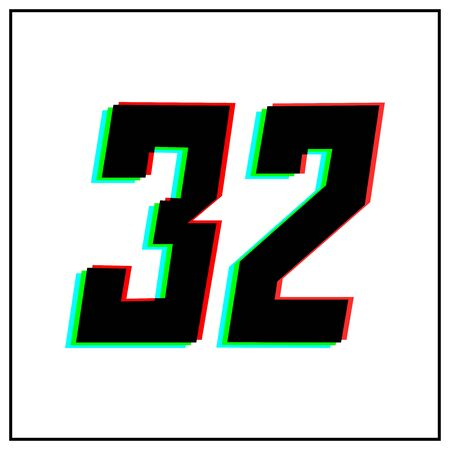 Number 32, thirty two vector desing logo.Dynamic, split-color, shadow of number red, green, blue in black frame on white background.For social media,design elements, anniversary celebration greeting