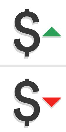 Dollar down and up icon. Money symbol with up and arrow stretching. Economy, stock market, finance increase, decrease. vector illustration Vettoriali