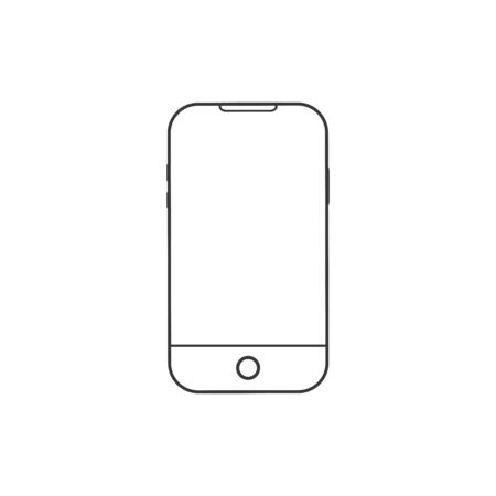 Mobile notch phone, outline stroke icon. vector illustration
