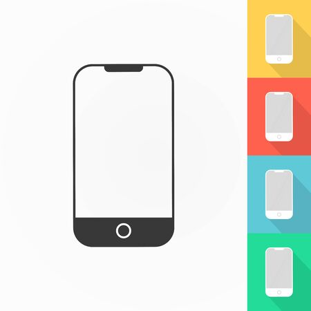 Cell phone icon. Long shadow set on colors background. Vector illustration