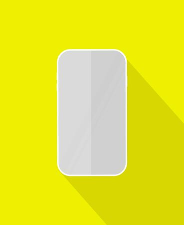 Mobile phone icon with long shadow on color background. Vector illustration