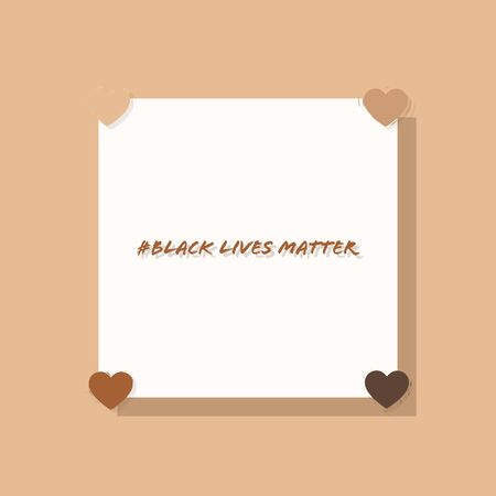 Black lives matter with skin colors hearts. Hand writing vector illustration