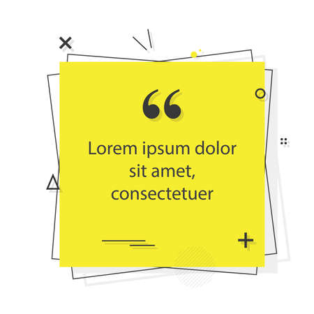 Quote template with trendy style. Comma, Note, message and comment. Vector illustration.
