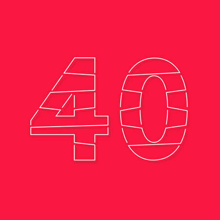 40 number, linear stroke font. Modern trendy, creative style design. For logo, brand label, design elements, corporate identity, application and more. Isolated vector illustration
