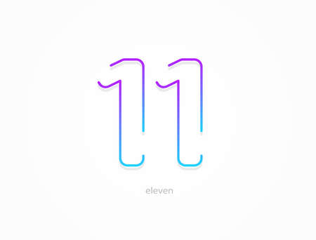 11 number, modern gradient font alphabet. Trendy, dynamic creative style design. Stock Illustratie