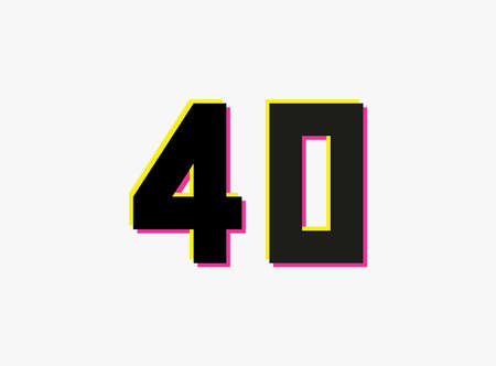 Number 40 vector design logo. Dynamic, split-color, shadow of number pink and yellow on white background. For social media, design elements, creative poster, anniversary celebration, greetings etc. Ilustração