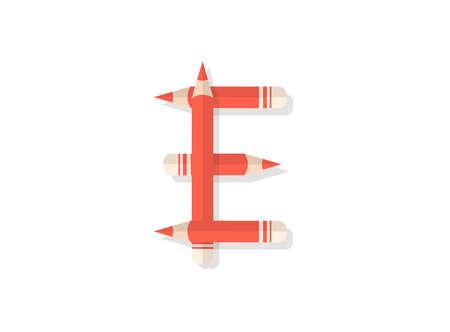 Letter P font made of pencils. Vector design element for logo, banner, posters, card, labels etc. Ilustração