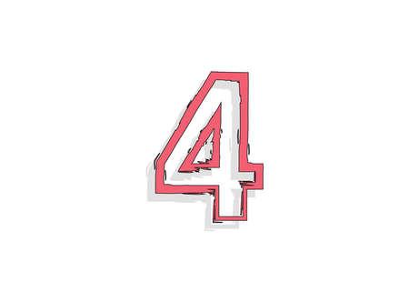 4 pink number, hand drawn brush stroke. Comic style design. For design element, logo, creative poster etc. Vector illustration  イラスト・ベクター素材