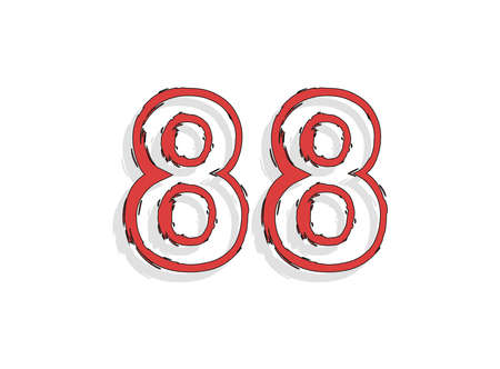 88 red number, hand drawn brush stroke. Comic style design. For design element, logo, creative poster etc. Vector illustration