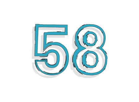 58 blue number, hand drawn brush stroke. Comic style design. For design element, logo, creative poster etc. Vector illustration