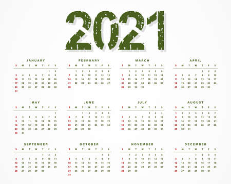 2021 creative calendar design template made of grungy, grunge texture. Rubber stamp imprint style. Vector illustration 向量圖像