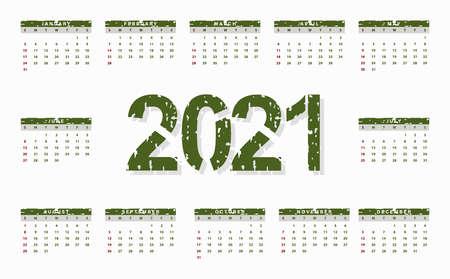 2021 calendar design, grungy texture with green color. Vector illustration