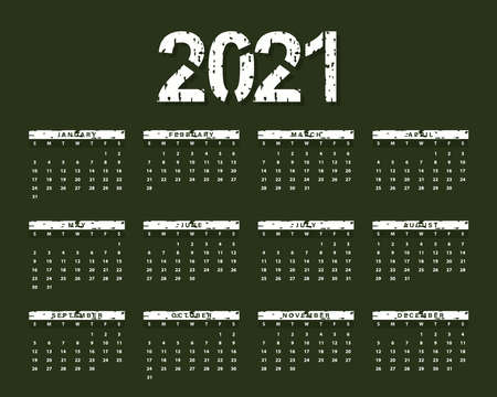 2021 creative calendar made of grungy, grunge texture with green color. Vector illustration 向量圖像