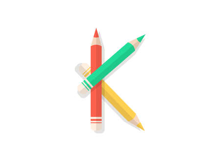 K letter font made of multicolored pencils. Vector design element for logo, banner, posters, card, labels etc.