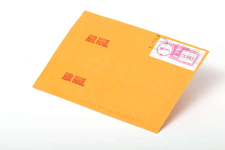 telegrama: Yellow post envelopes with letters and a blank space for the address or an inscription