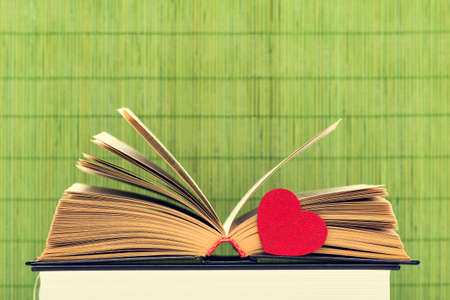yellow pages: The opened book with the turned yellow pages and heart on a green background from bamboo sticks Stock Photo