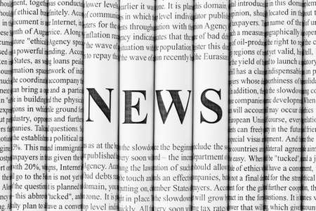 bundle of letters: Stack of newspapers with small text and big letters forming together word NEWS Stock Photo