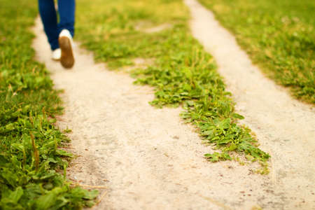 wayfarer: Fork of sandy footpath in green grass and feet of going person. Summer sunny day. Blurred background