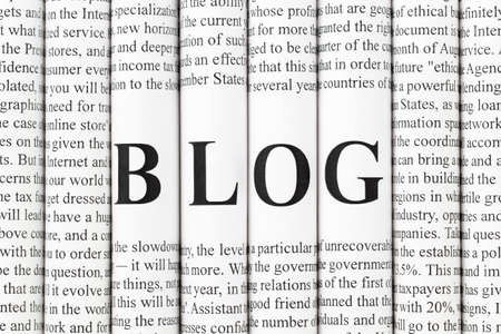 censure: Stack of newspapers with small text and big letters forming together word BLOG
