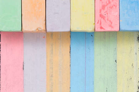 chalks: Colored chalks paint stripes of other colors. Concept of universal skills and interchangeability in team Stock Photo