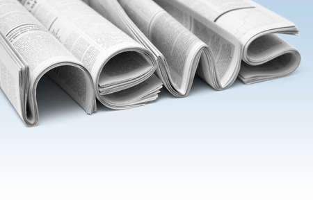 newscast: Stacks of modern newspapers, composed in form of word NEWS on gradient background. Concept of news and events of company