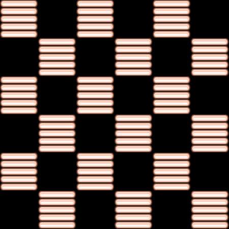 Il modello di luci al neon di colore arancione su uno sfondo nero. Glowing kapsluly. Forma quadrata. ordine di scacchi.