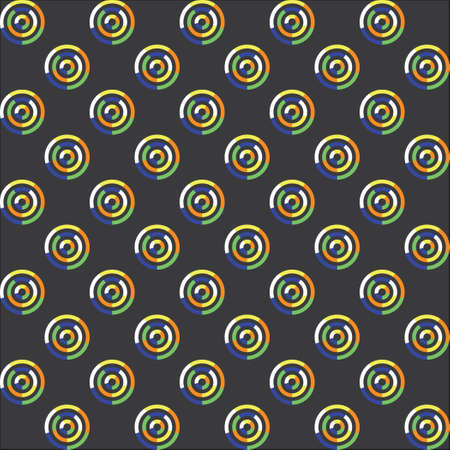 sectors: Seamless pattern of circles of green and blue. Gray background. Circle of sectors. City Style.