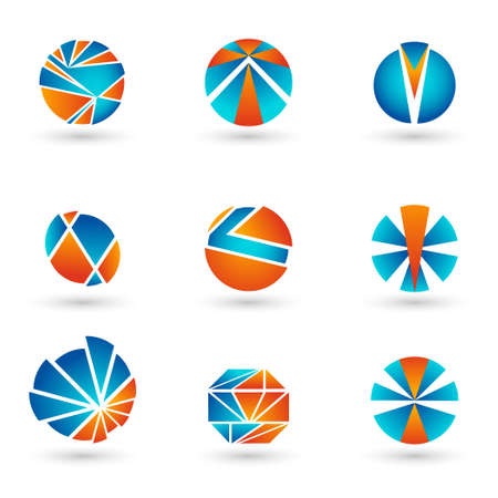 colorfully: A set of logos for web sites and businesses. Simple Design. Voluminous shapes. Illustration