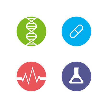 retort: Logos or icons on the theme of health. Image DNA retort, cardiogram and pills on a white background.
