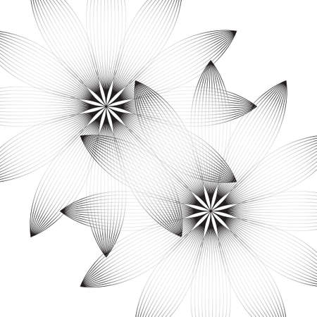 technologie: Two flowers on a white background. The image of the lines. Black and white image. Modern design. Illustration