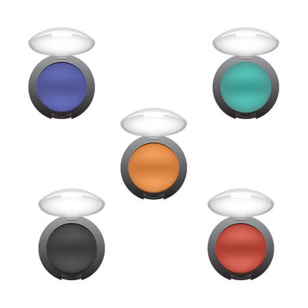 eyeshadow: Set of eyeshadow in different colors. Red yellow and blue eye shadow. White background.