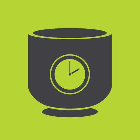 lunch break: The black silhouette of a cup. A cup with a timer. A cup with a dial. Lunch break. Green background.