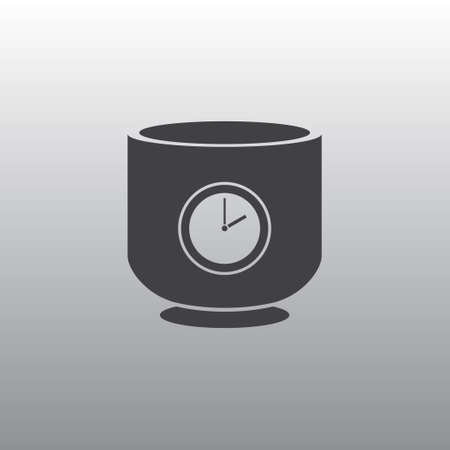 lunch break: The black silhouette of a cup. A cup with a timer. A cup with a dial. Lunch break.