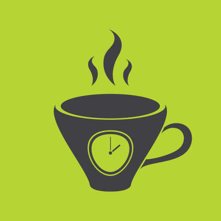 lunch break: The black silhouette of a graceful cups. A cup with a timer. A cup with a dial. Lunch break. Green background.