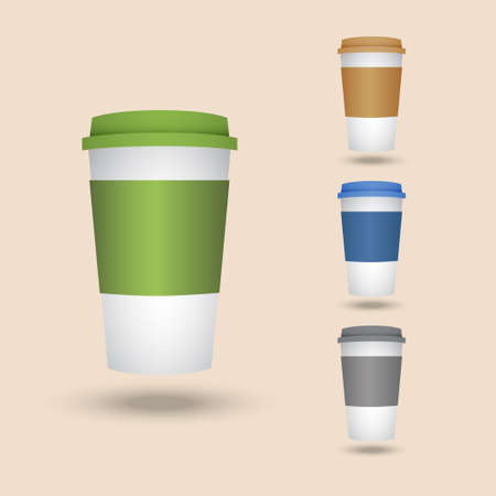 lids: Set volume of plastic cups for coffee, tea or juice. Four plastic cups with lids.