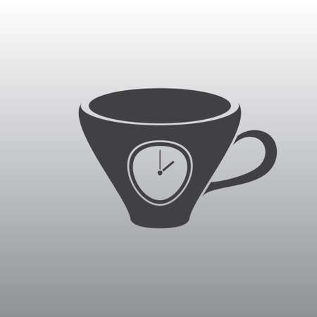 lunch break: The black silhouette of a graceful cups. A cup with a timer. A cup with a dial. Lunch break. Illustration