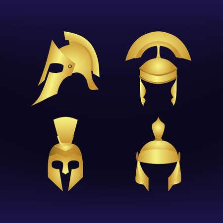 eras: Set of gold helmets of different eras. Blue background. Illustration
