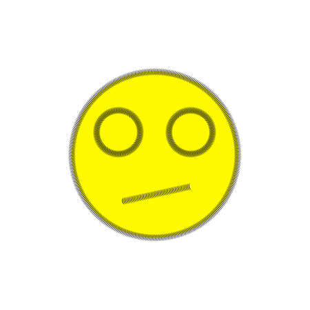 seam: Cheerful smile on white background. Stripe. Image seam. The expression on the face of discontent. Illustration