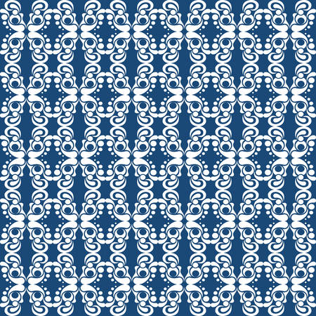 repetition row: White ornament on a blue background. Modern style. Elegant design. Illustration