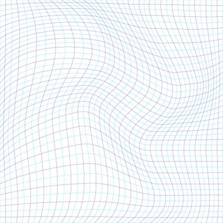 curvature: The geometric pattern of blue lines. The distortion of the image. The curvature of space. Illustration
