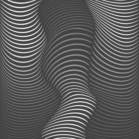 distorted: Background of distorted lines. Shades of gray on a dark background. Vector Image.