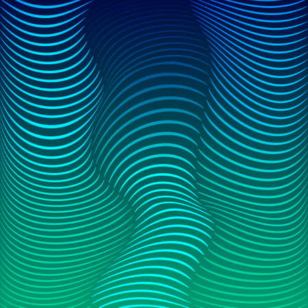 anomalous: Background of distorted lines. Shades of blue against a dark background. Vector Image. Waves of color.