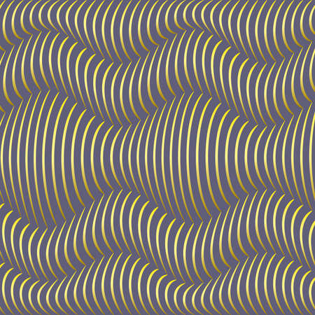 Background of blue waves of bulk gold. The distortion of space. Curved lines. Vector Illustration
