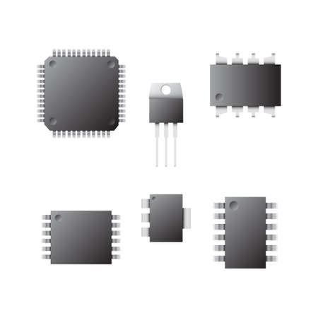 gpu: A set of chips on a white background. Image of different types of chips. Electronics.