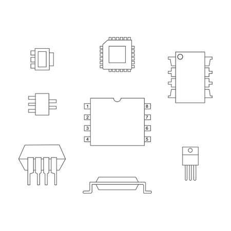 chipset: A set of chips on a white background. A schematic picture of different types of chips.