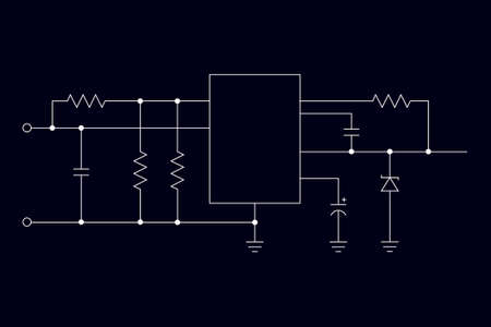 schematic: Schematic diagram on a dark background. Mikokontroller. Microelectronics.