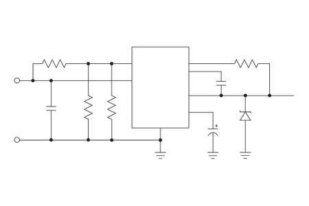 microelectronics: Schematic diagram on a white background. Mikokontroller. Microelectronics.