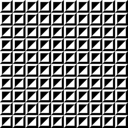 striated: Seamless contrast image with squares. Monochrome image. Black and white squares and triangles.